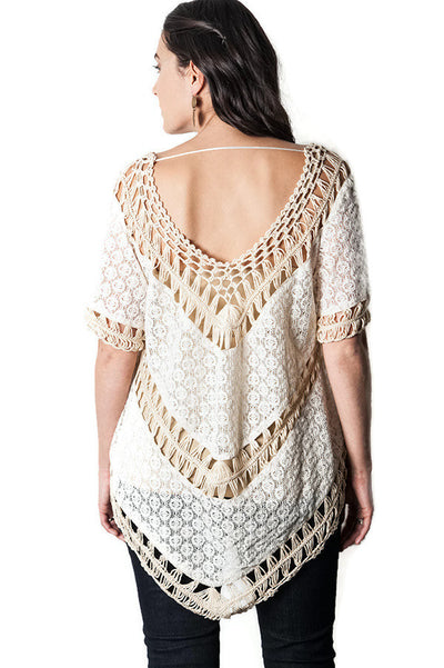 Lace Crochet Knit Top, Natural