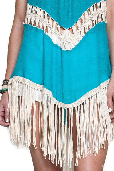 Crochet Fringe Tunic, Teal