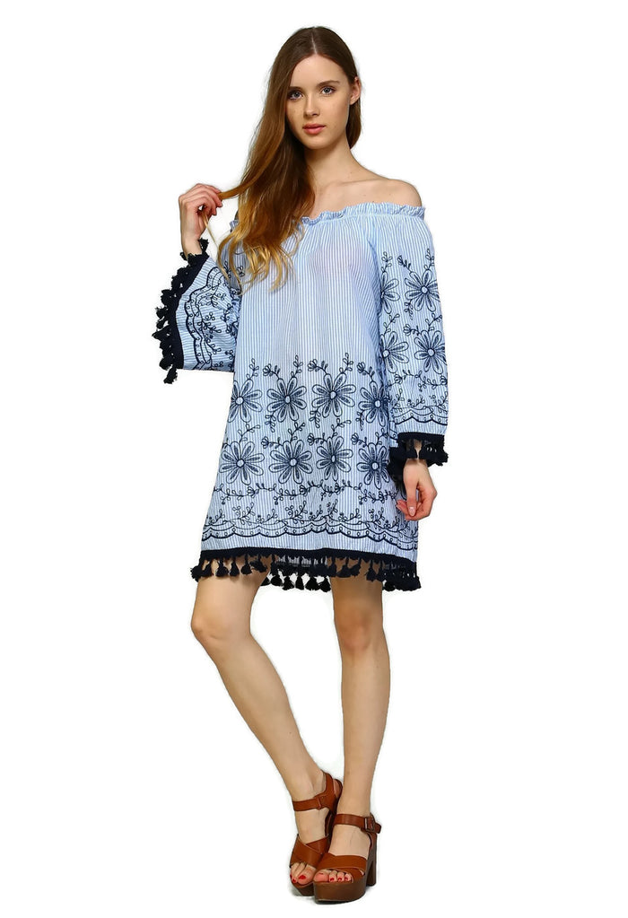 Embroidered Off the Shoulder Tassel  Dress, Blue