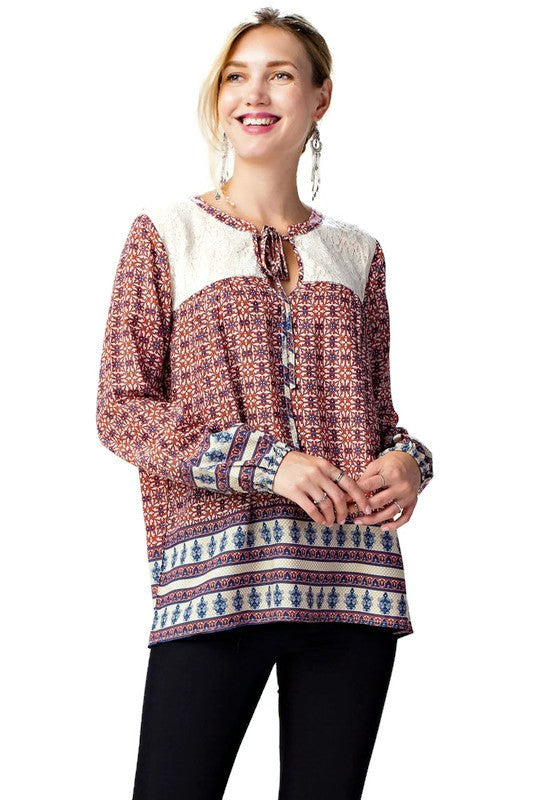 Border Print Lace Top, Red