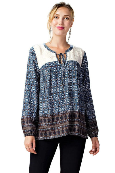Border Print Lace Top, Navy