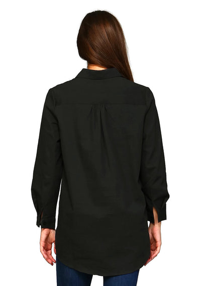 Floral Embroidered Shirt, Black