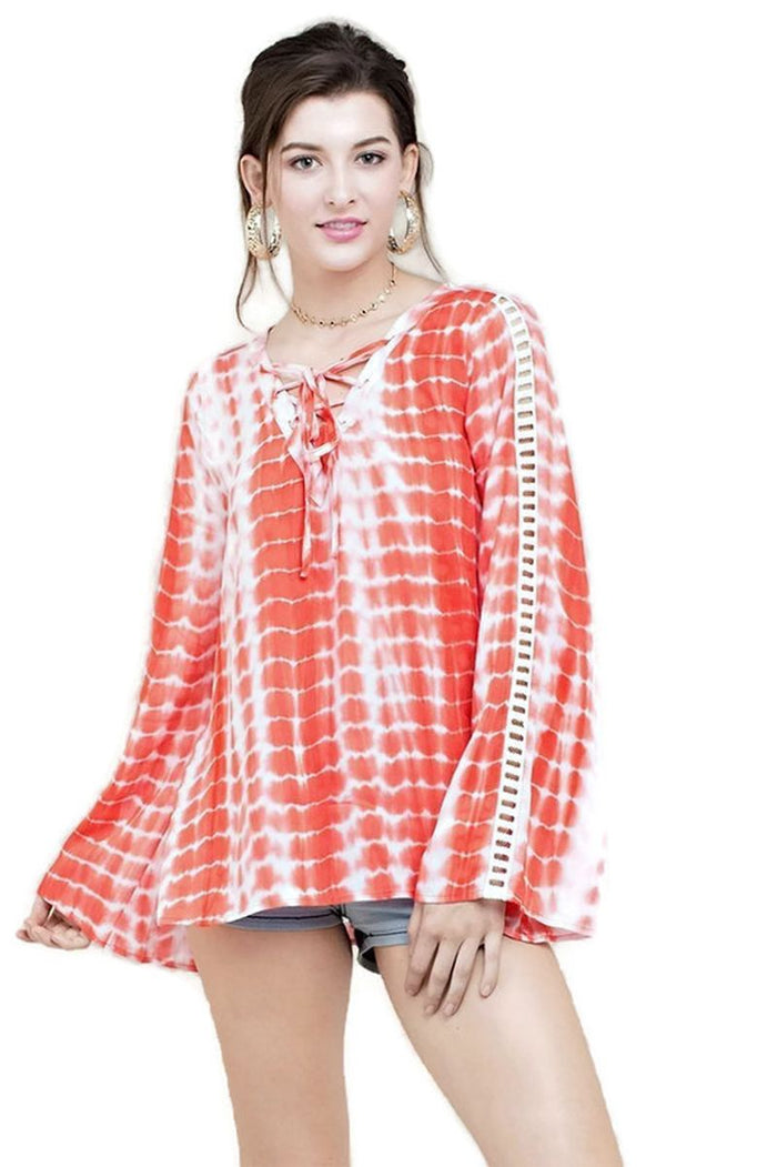 Tie Dye Lace Up Top, Coral
