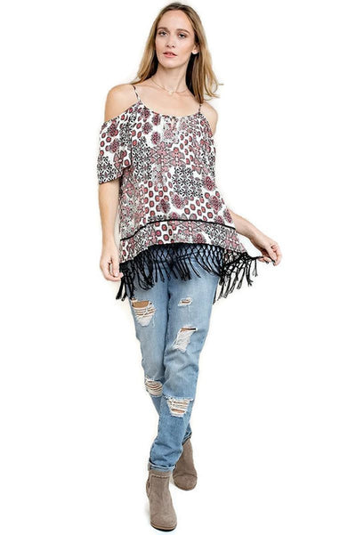 Off The Shoulder Fringe Top, Coral Mix