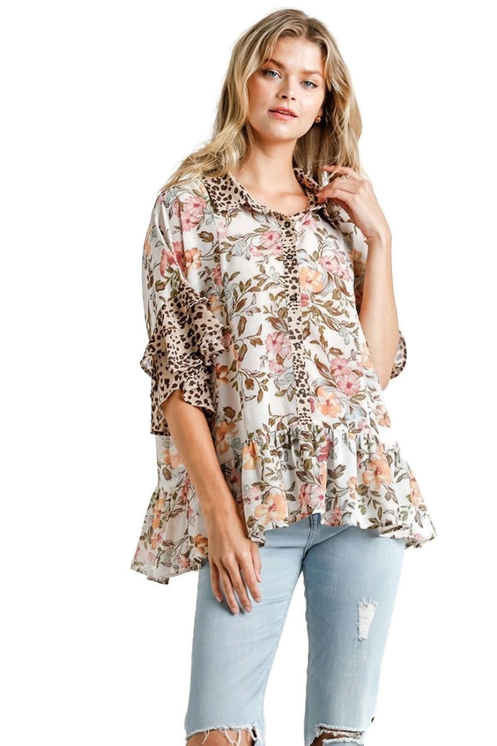 umgee usa Sheer Floral & Animal Print Short Layered Bell Sleeve Top