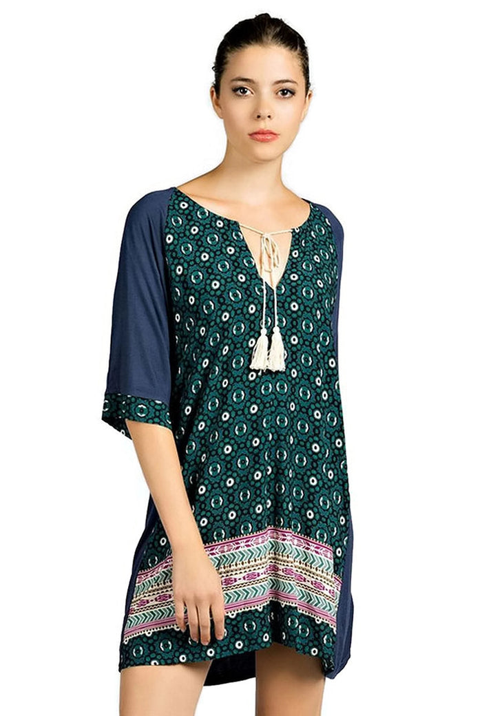 Mixed Print Tassel Tie Dress, Navy