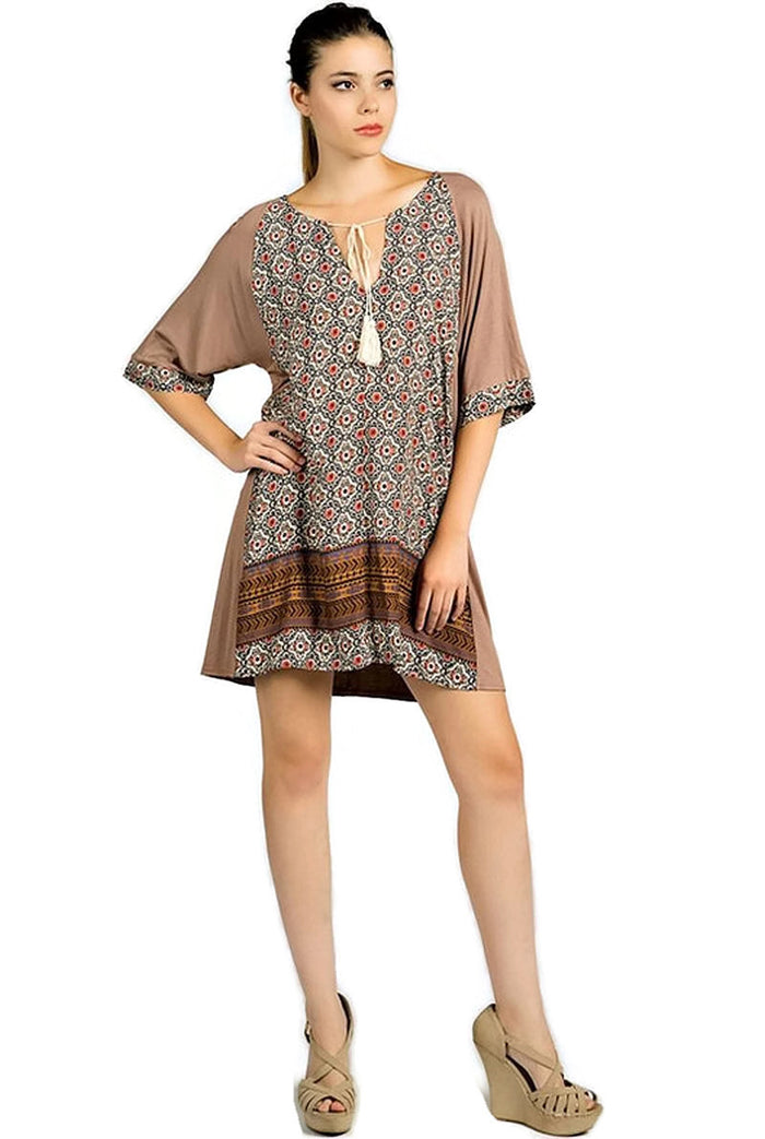 Mixed Print Tassel Tie Dress, Taupe
