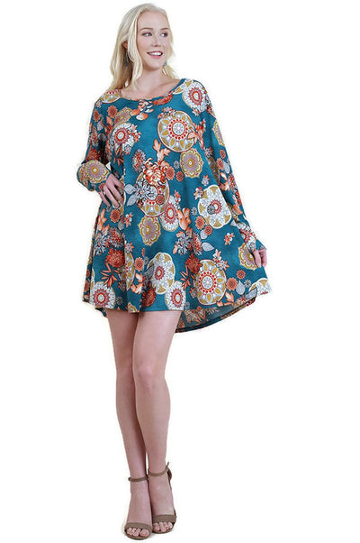 Mandala Print Dress, Teal Mix
