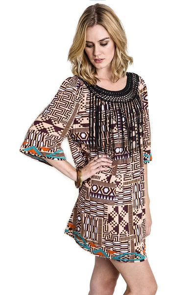 Fringe & Beaded Tribal Dress, Burgundy