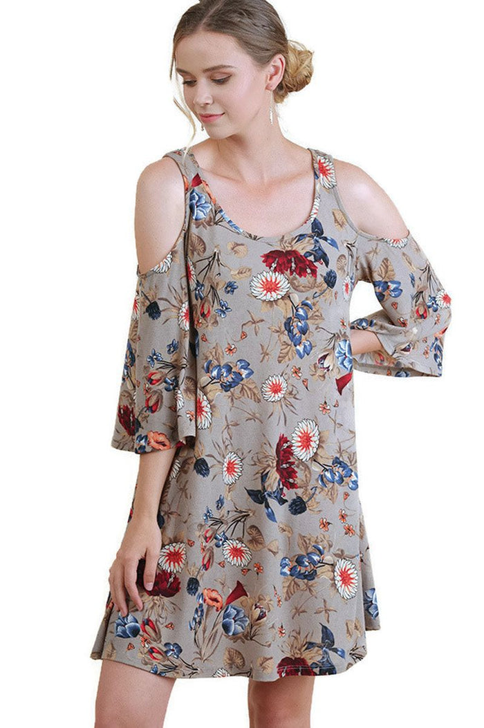 Floral Cold Shoulder Dress With 3/4 Bell Sleeves, Latte