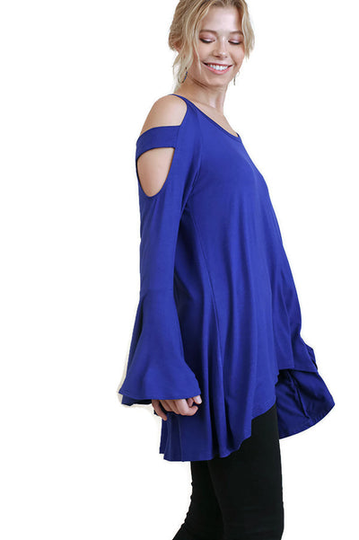 Bell Sleeve Shoulder Cutouts Tunic, Cobalt
