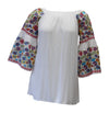 Floral Embroidered Off The Shoulder Dress, White
