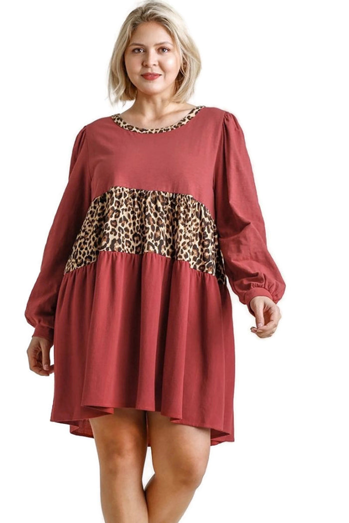umgee usa Leopard Tiered Babydoll Dress
