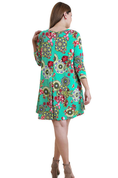 Mandala Bohemian Print Dress, Mint Mix