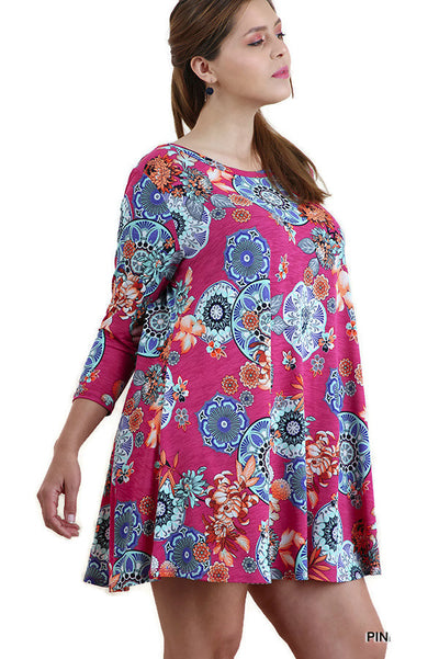Mandala Bohemian Print Dress, Pink Mix