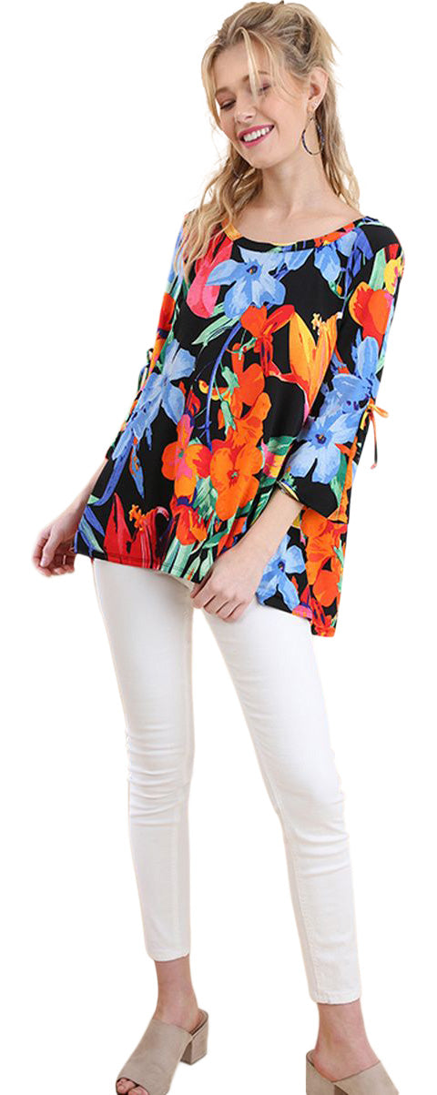 Floral Cutout Shoulder Top, Black