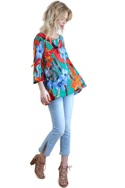 Floral Cutout Shoulder Top, Jade