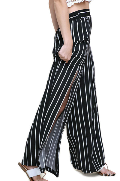 High Waist Striped Pant, Black