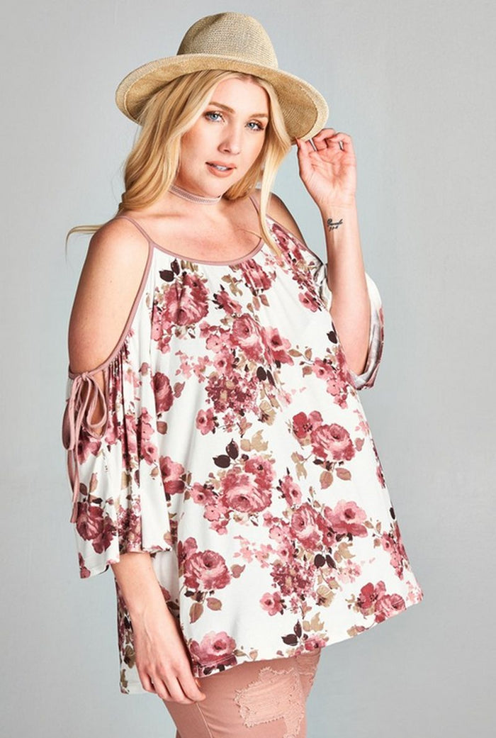 Floral Swing Top Plus Size, Off White