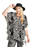 Damask Bohemian Tunic, Taupe & Black
