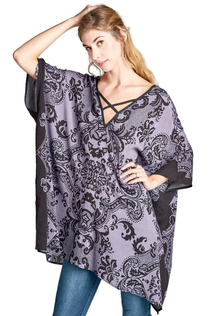 Damask Bohemian Tunic, Black & Purple