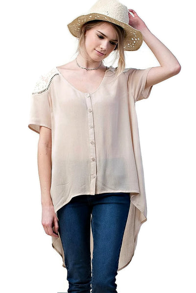 Lace Shoulder Blouse, Mocha