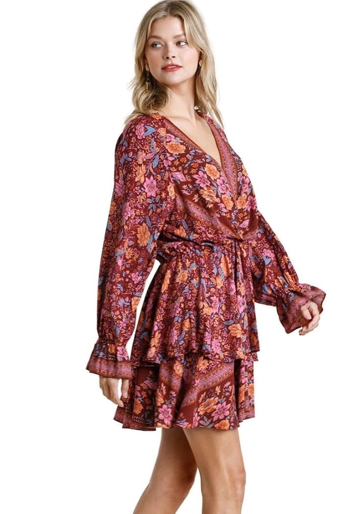 Floral Border Print Layered Dress