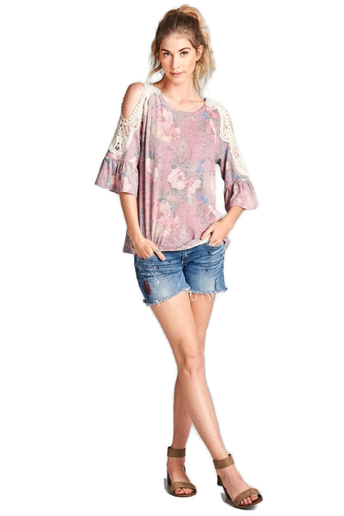 Floral Crochet Washed Top, Rose