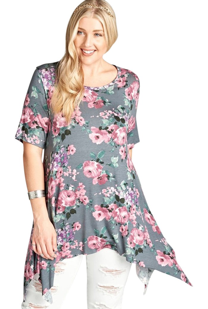 Floral Sharkbite Tunic, Charcoal