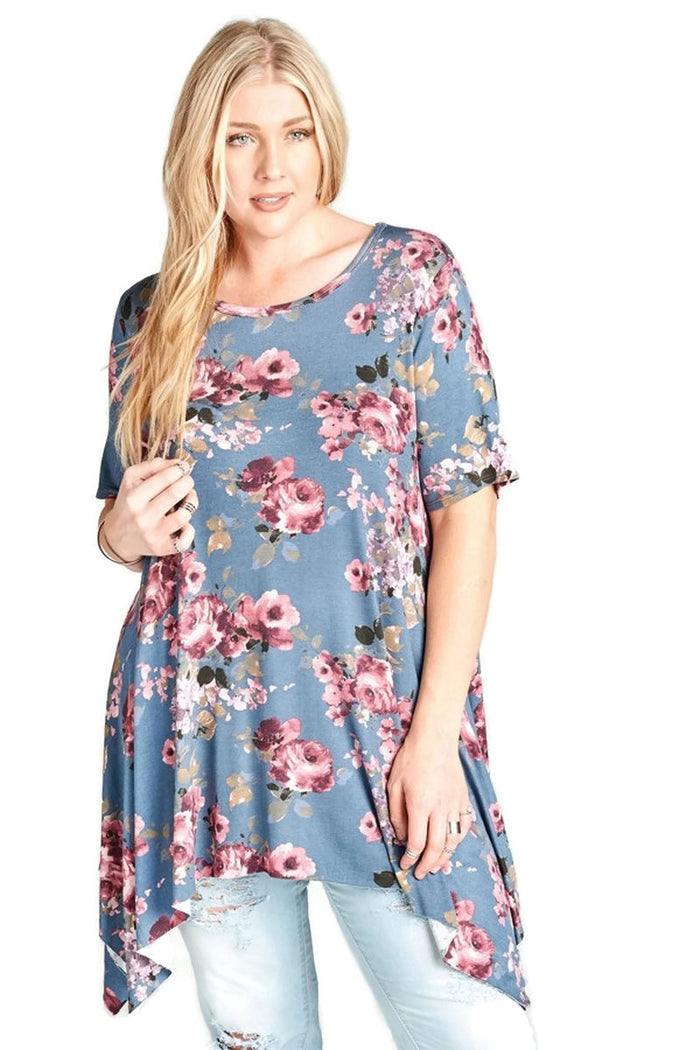 Floral Sharkbite Short Sleeve Tunic, Denim
