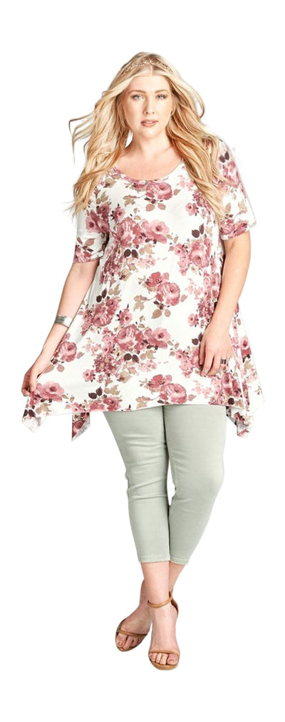 Floral Sharkbite Tunic, Off White