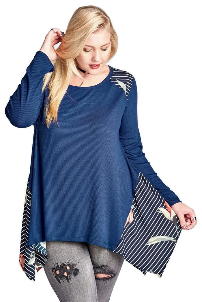 Solid, Striped & Floral Knit Trapeze Tunic, Navy