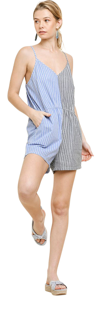 Colorblock Striped Romper, Blue/Grey