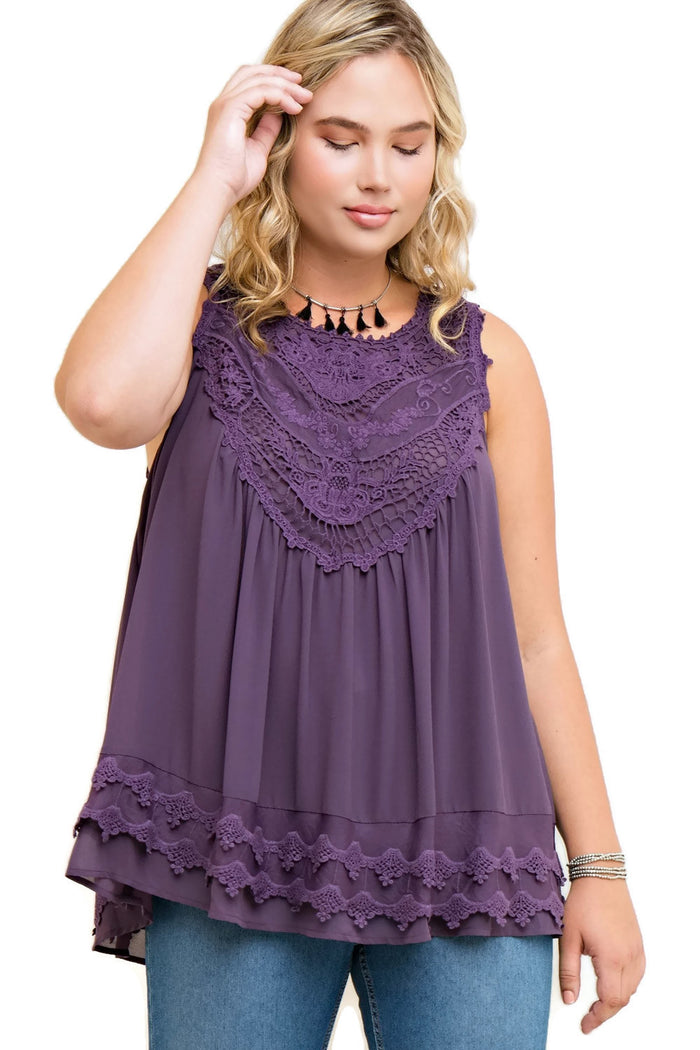 Crochet Bohemian Tunic Tank, Grape