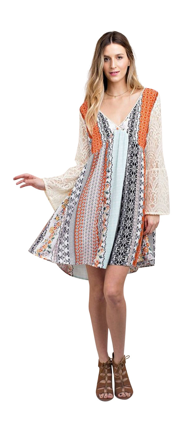 Mixed Print Lace Dress, Orange