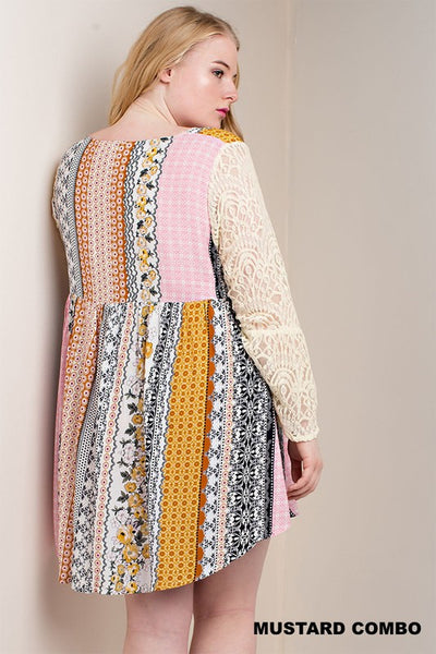 Mixed Print Lace Bell Sleeve Dress, Mustard Combo