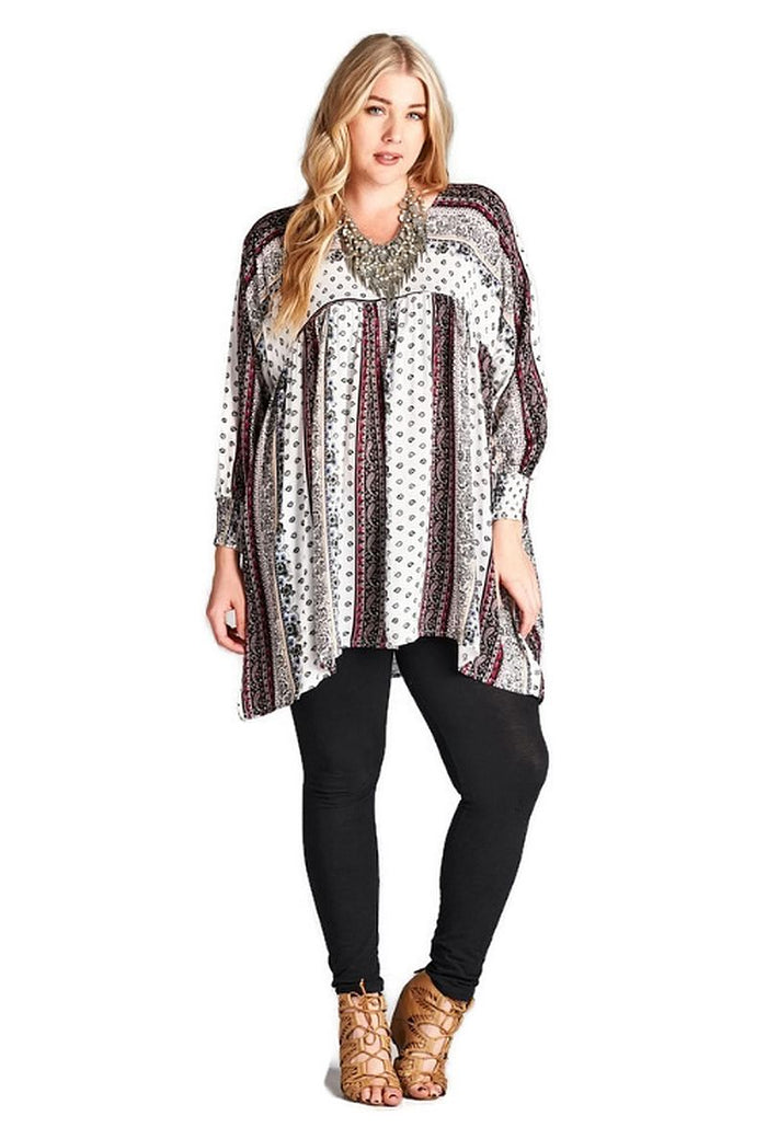 Paisley Baby Doll Tunic, Off White