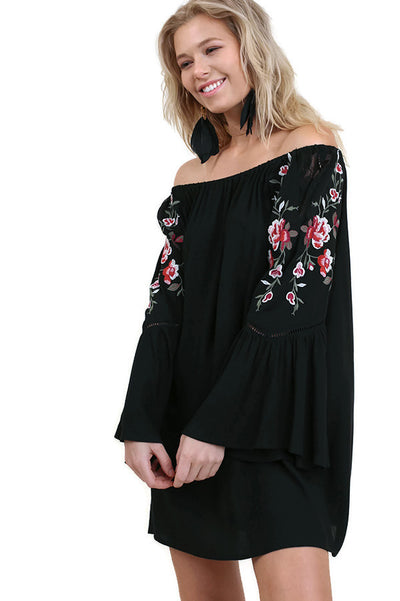 Off the Shoulder Long Bell Sleeve Floral Embroidered Dress, Black