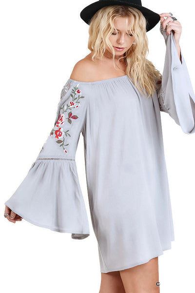 Off the Shoulder Long Bell Sleeve Floral Embroidered Dress, Cool Grey