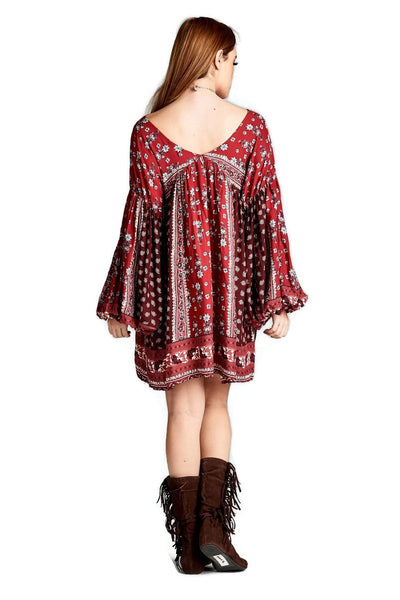 Patch Print Baby Doll Dress, Red