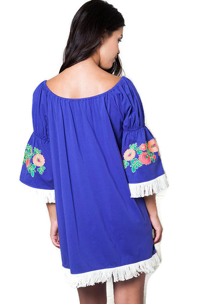 Embroidered Off the Shoulder Dress, Royal Blue