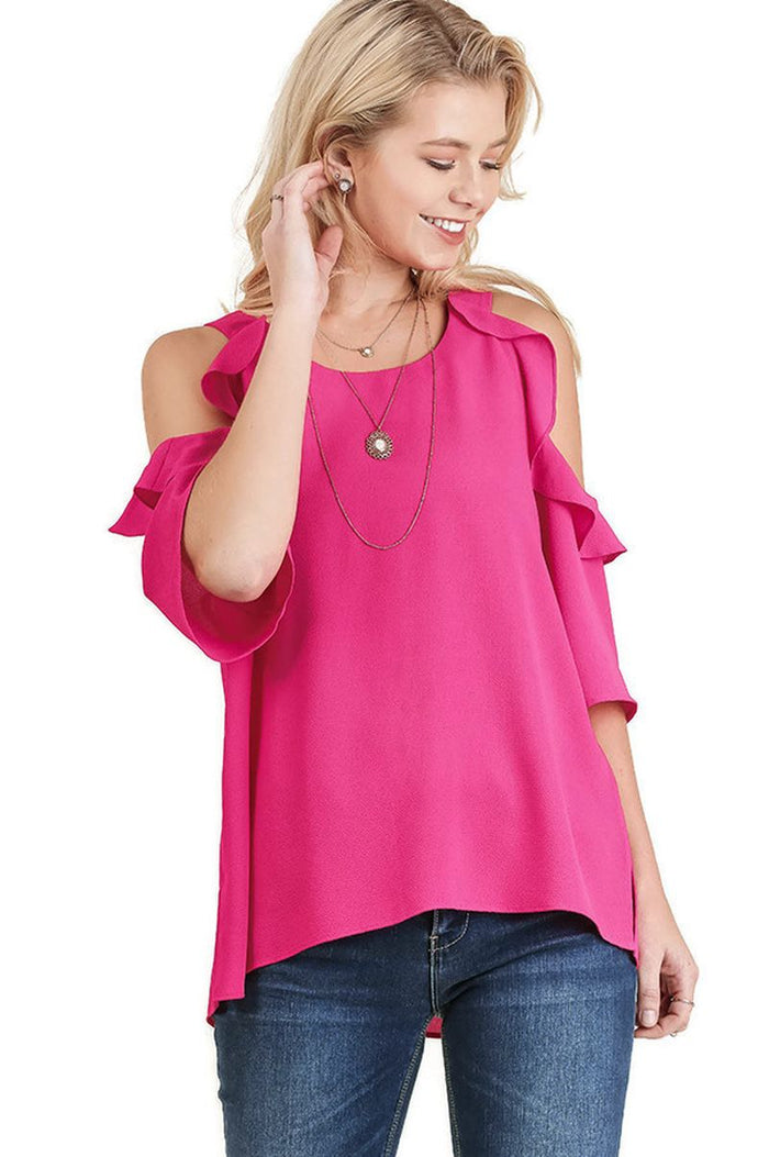 Cold Shoulder Ruffle Blouse Top, Hot Pink