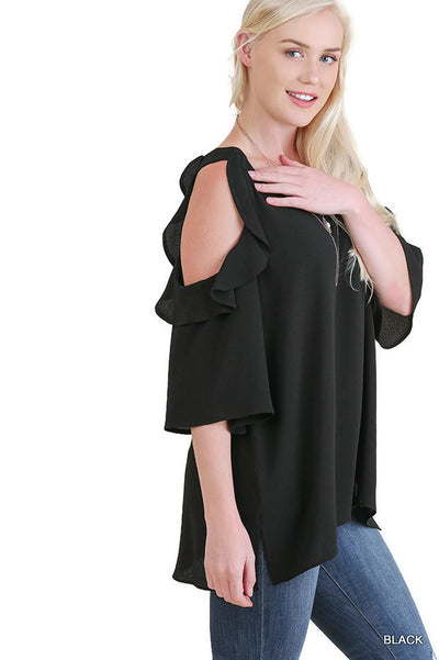Cold Shoulder Ruffle Blouse Top, Black