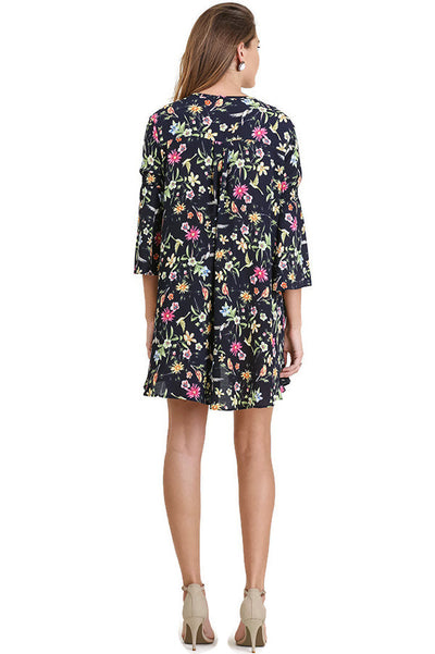 Floral Keyhole Dress, Navy Mix