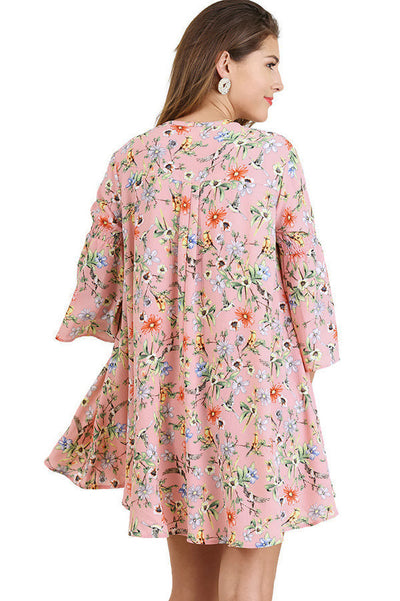 Floral Keyhole Dress, Rose Mix