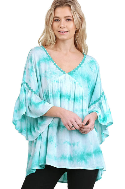 Tie Dye Bell Sleeve Tunic, Mint