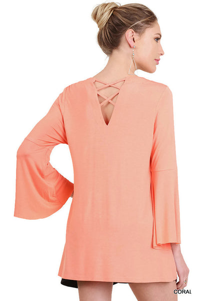 Crossed Neck Bell Sleeve Tunic, Coral