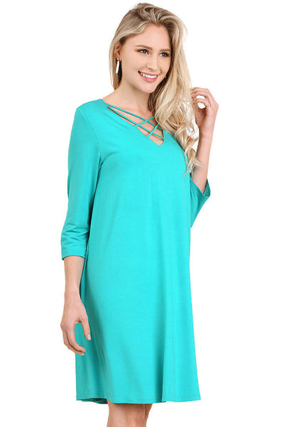 Casual Crossed Neck Shift Dress, Jade