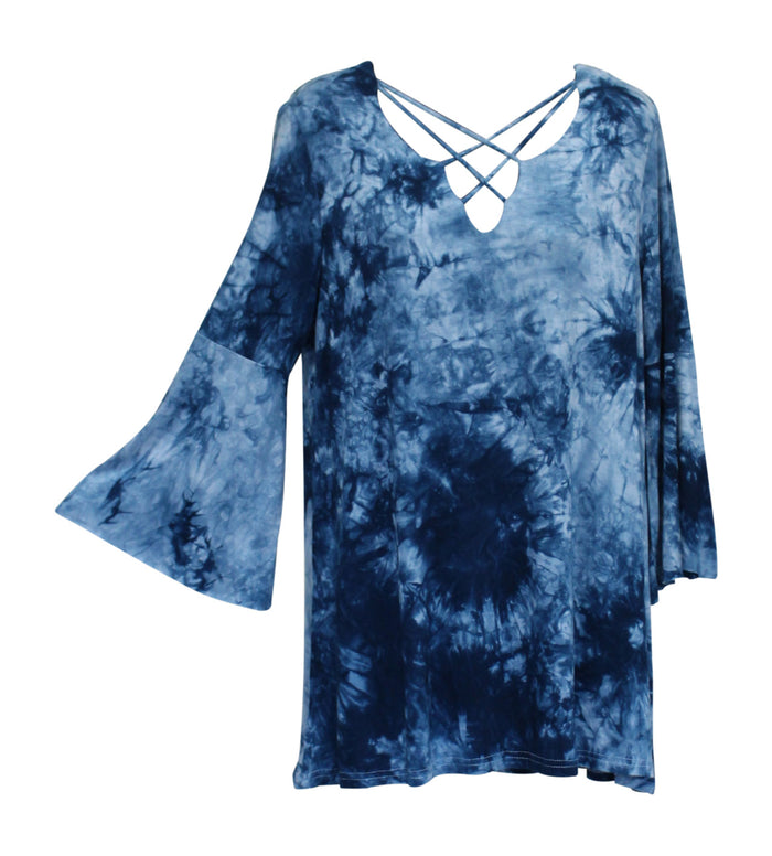 Crossed Tie Dye Bell Sleeve Top, Blue