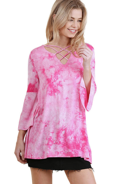 Crossed Tie Dye Bell Sleeve Top, Pink